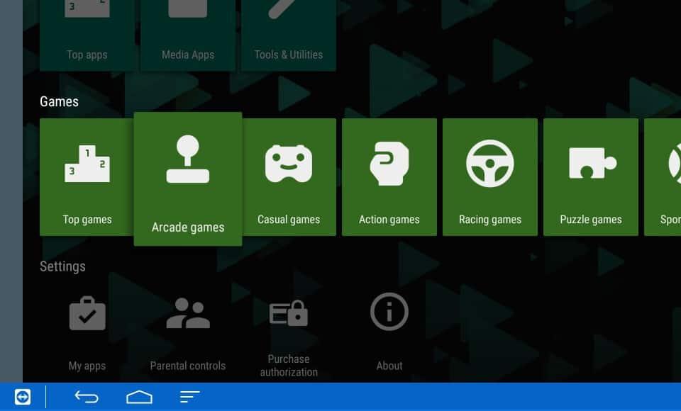 Play Store interface Nexus Player