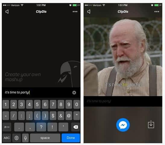 ClipDis facebook messenger app