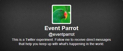 EventParrot twitter account