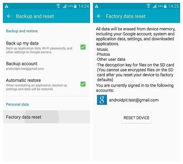 Factory Reset Galaxy S6 edge