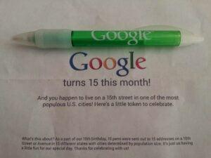 Google 15th birthday present