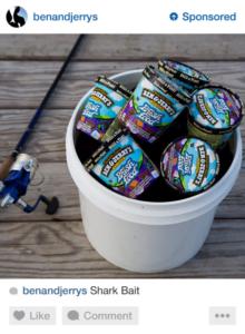 Instagram ad featuring Ben & jerry's icecream