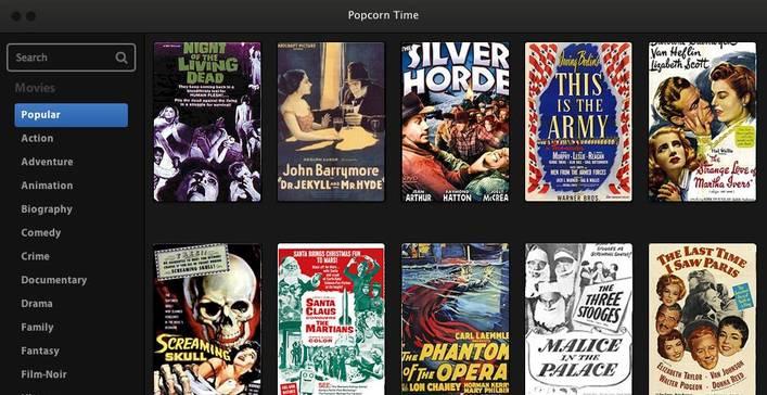 Popcorn time interface